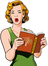 Singers for Funerals icon - illustration of girl with blond hair from the waist up, in a green dress holding a music book and singing